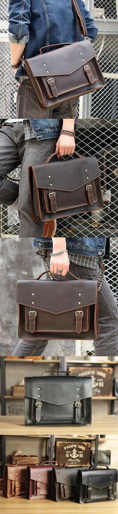 Vintage Crazy Horse Leather Messenger Bag Tote Briefcase Laptop Shoulder Bag ZY403