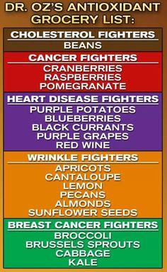 Dr Oz's Antioxidant Grocery List #health I swear to choose atleast 1 of these each week i go shopping!