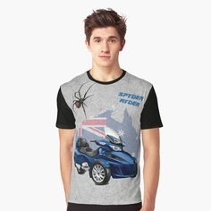 'Spyder Ryder - Spyder RT (blue)' Graphic T-Shirt by Hoodies, Sweatshirts, Neck T Shirt, Shirt Designs, Classic T Shirts, Sleeves, Cotton, Mens Tops, Blue