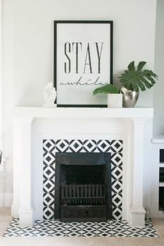 55 Small Fireplace Makeover Ideas – Home Ideas Small Fireplace, Living Room With Fireplace, Fireplace Surrounds, Fireplace Design, New Living Room, My New Room, Living Room Decor, Dining Room, Tiled Fireplace