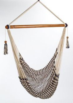 Gorgeous hammock chair handmade in Nicaragua by persons with disabilities.