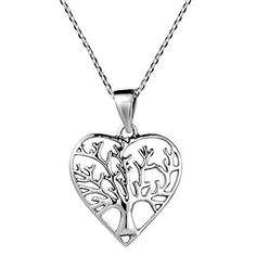 Romantic Heart Shape Tree of Life 925 Sterling Silver 18 Inches Necklace *** Read more at the image link.