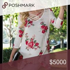 PLUS SIZE IVORY FLORAL MULTI-CRISSCROSS SWING TOP Ivory Floral Print Multi-Crisscross Swing Top  🌷Fabulous for Spring  🌷Pretty Ivory Shade 🌷Floral Print 🌷Trendy Multi-Crisscross on Round Neckline  🌷Playful Swing Hemline  🌷Sizes 1X, 2X, 3X 🌷Rayon 🌷Bundle Discount Available   🔴PRICE IS FINAL UNLESS BUNDLED 🚫NO TRADED Peach Couture Tops