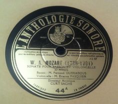 Mozart Sonata pour cello bassoon Oubradous E. Pasquier Anthologie Sonore No. 44