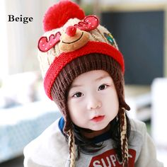 97c6dab90ab Thick reindeer knit hat with ear flaps for kids winter fleece hat