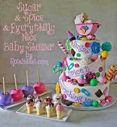 Sugar and Spice and Everything Nice Baby Shower Cake for Twin Girls - Rose Bakes.  So talented!!!  You can tell she LOVES her creations.