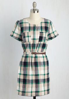 Housewarming Up to It Dress - Plaid, Print, Casual, A-line, Shirt Dress, Short…