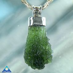 Genuine Moldavite Drop Silver Pendant SW422 by ArkadianCollection