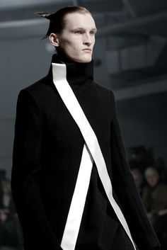 Rick Owens AW11 men's black stand collar asymmetric coat with white contrast trim