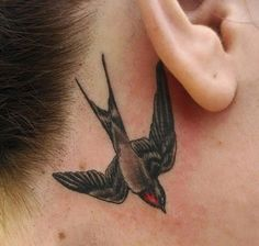Swallow tattoo behind the ear - 100  Lovely Swallow Tattoos  <3 <3