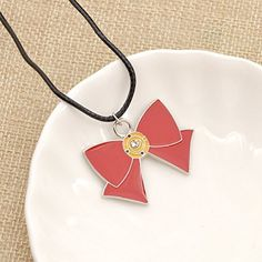 Amazon.com: Anime Sailor Moon Necklace Red Bowknot Cosplay Pendant Necklace Leather Cord 1 Pc: Jewelry