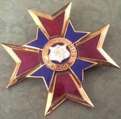 Vintage Masonic Service Medal Do-Cen-Do Dis-Ci-Mus Red White Blue Enamel  AP1091