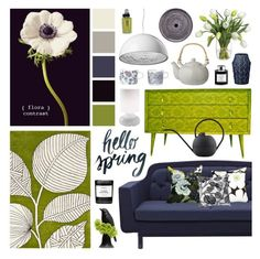 """Spring Florals"" by ladomna on Polyvore featuring interior, interiors, interior design, home, home decor, interior decorating, Normann Copenhagen, Diane James, Bloomingville and Byredo"