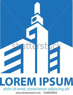 Vector abstract, shape three building, with one tower, a symbol of a region. - stock vector