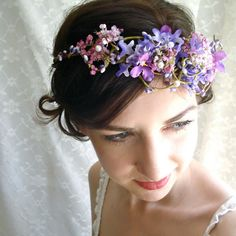 A floral head dress for a very sweet bride.