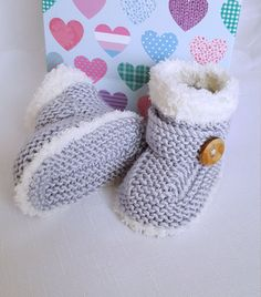 Knitted Baby Booties Baby Boys Booties by PreciousNewbornKnits