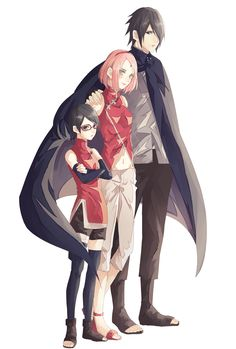 """""""Haruno Sakura"""" """"Uchiha Sarada"""" """"Uchiha Sasuke"""""""