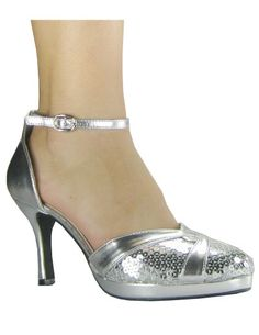 sliver shoes | High Heel Silver Ankle Strap Fashionable Pumps/Dance Shoes