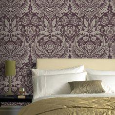 Desire Damask Wallpaper - Purple Damask Wall Coverings by Graham & Brown   Graham & Brown