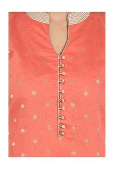 Buy Soch Peach & Beige Printed Kurta With Salwar for Women Online @ Tata CLiQ Punjabi Suit Neck Designs, Salwar Neck Designs, Churidar Designs, Kurta Neck Design, Kurta Designs Women, Churidhar Neck Designs, Neck Designs For Suits, Neckline Designs, Dress Neck Designs