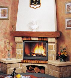 Cottage Fireplace, Fireplace Hearth, Home Fireplace, Fireplace Remodel, Living Room With Fireplace, Fireplace Design, Granite Hearth, Classic Fireplace, Limestone Tile