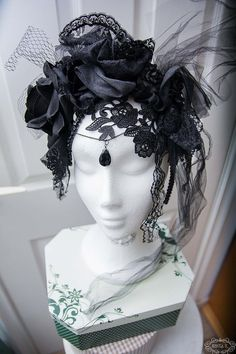 Gothic Headdress  Morticia by NebulaXcrafts on Etsy