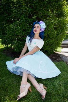 Peggy Sue Ric Rac Skirt in Mint available at www.dollmeupdarling.com <3 Model: Eleanor Paige #dollmeupinc #dollmeup #pinup #pinupgirl #vintagefashion #vintage #rockabilly #kawaii #lolita #50s #1950s