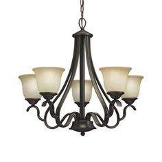 Portfolio Danrich Marina 25.75-in 5-Light Black Bronze W/Red Standard Chandelier