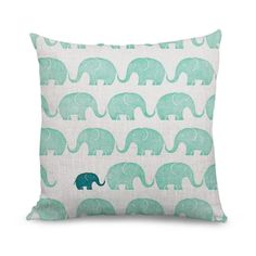 Cute Elephant Pattern Throw Pillow Cover