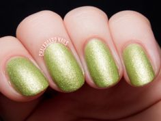 NCLA Candy Coat - Mint Condition is a glowy yellow-green with a slight shimmer and a subtle texture. Mint Condition is one of the more mild textures I've used, so if you are still hesitant to try the texture trend, this is a great first step. Never fear though... texture veterans will also enjoy this unique shade! Three thin coats shown.