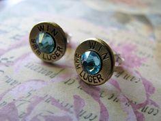 9mm Light Turquoise Crystal Bullet Earrings by bluesparrowtrinkets, $15.00