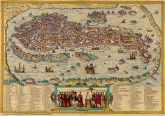 Map of Venice from Braun & Hogenburg's famous atlas, the Civitates Orbis…