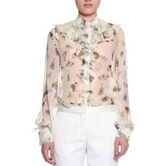 Alexander McQueen Obsessions Ruffled-Trim Blouse (£1,130) ❤ liked on Polyvore featuring tops, blouses, white mix, chiffon ruffle blouse, ruffle blouses, white frilly blouse, ruffle top and white top