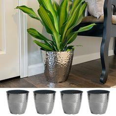 Misco 4 Pack 10 Inch Round Metallic Hammered Plastic Flower Pot Garden Planter, Silver