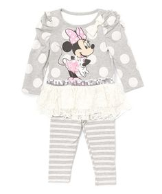 Look what I found on #zulily! Gray Minnie Mouse Dress & Leggings - Infant, Toddler & Girls #zulilyfinds