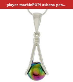 player marblePOP! athena pendant on Silver Plated Snake Chain (20). A cute and fun little pendant that comes with 9 fancy (10mm) marbles that can be interchanged in the pendant. Comes strung on a silver clad fine ball chain. Packaged in a gift box with instructions.