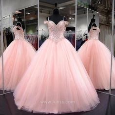 Pink Quinceanera Dresses 2018 Modest Masquerade Ball Gown Prom Dress Sweet 16 Girls Birthday Party Lace Up Off Shoulder Full Length Tulle Ball Gown, Ball Gowns Prom, Prom Party Dresses, Pageant Dresses, Ball Dresses, Dress Party, Birthday Dresses, Puffy Prom Dresses, Beaded Dresses