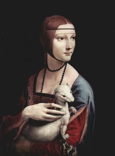 By Leonardo da Vinci Possibly the only portrait he painted which included an animal. An ermine I think