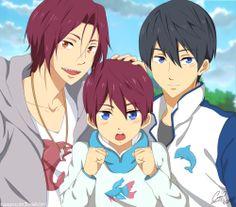 Look at the cute symbol on Sakura's jacket ...  Free! - Iwatobi Swim Club, haruka nanase, haru nanase, haru, free!, iwatobi, rin matsuoka, matsuoka, rin, nanase, rinharu, sakura