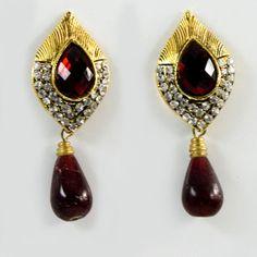 Blinglane Ethnic Maroon Crystal Earrings by Blinglane on Etsy, $12.95
