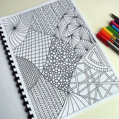 Printable Coloring Page Zentangle Inspired Abstract Art by JoArtyJo