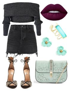 """""""Untitled #13"""" by beacraven ❤ liked on Polyvore featuring Alexander Wang, Aquazzura, Topshop, Alexis Bittar, Lime Crime and denimskirts"""