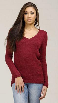 Diamond Back Detailed Knit Sweater - Burgundy