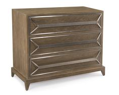 A luxe three drawer chest in weathered greige with ribbed stainless steel hardware.