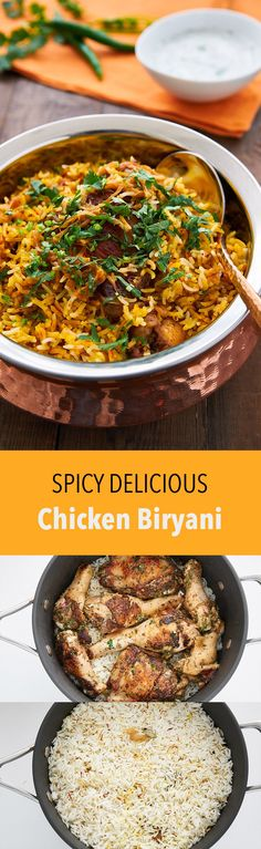 Chicken Biryani is a delicious savory rice dish that's loaded with spicy marinated chicken, caramelized onions, and flavorful saffron rice. (Chicken Meals With Rice) Indian Food Recipes, Asian Recipes, Indian Chicken Recipes, Ethnic Recipes, Savory Rice, Spicy Rice, Comida India, India Food, India India