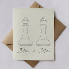 Mrs and Mrs invites. | 23 Super Cute Lesbian Wedding Ideas wait but this is so cute, could be king and queen too