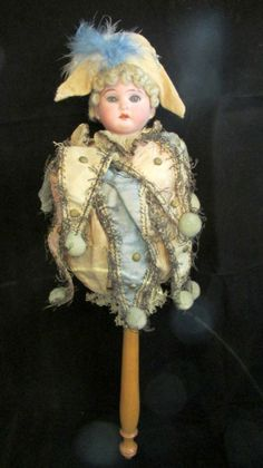 Antique AM German Musical  Marotte - Bisque Shoulder Head