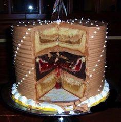 The Cherpumple Cake: Bake three pies: Apple, Pumpkin, and Cherry.