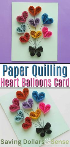 These Paper Quilling Heart Balloons are the perfect addition to a homemade card and would work great for birthdays, Mother's Day, Valentine's Day and more! Arte Quilling, Paper Quilling Flowers, Paper Quilling Cards, Paper Quilling Designs, Quilling Paper Craft, Quilling Ideas, Paper Quilling For Beginners, Quilling Techniques, Quilling Keychains
