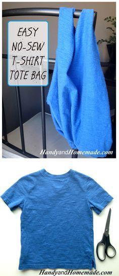 Easy No Sew T-Shirt Tote Bag Tutorial | Handy